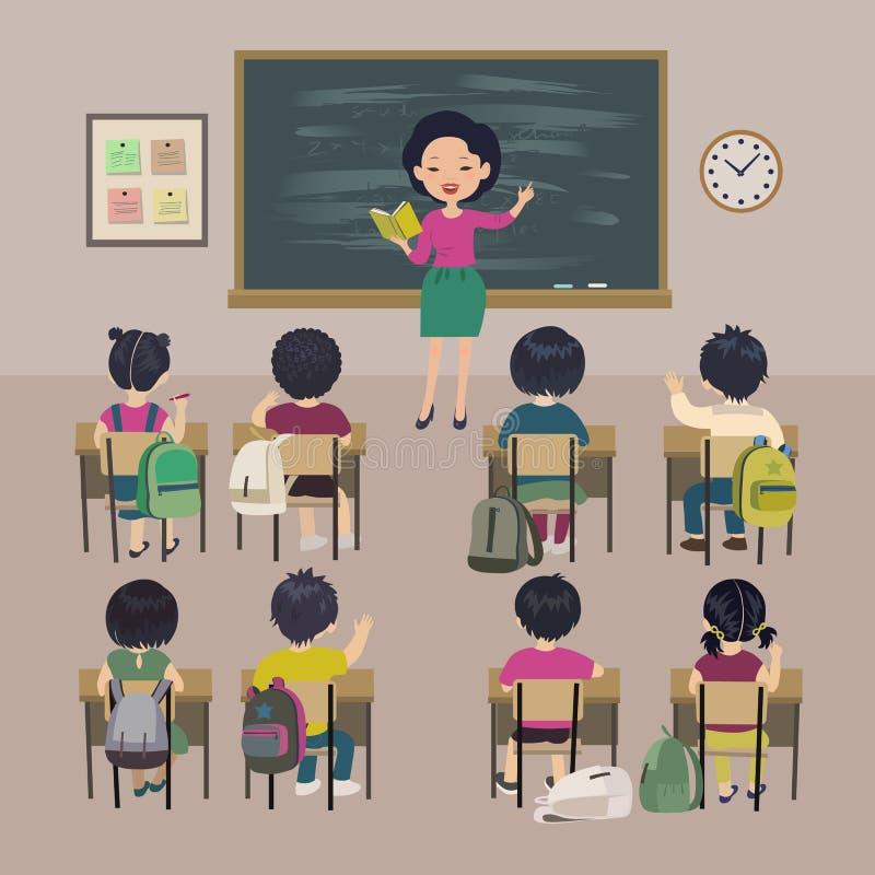 Läraredagbakgrund tecknad hand isolerad white för kursskolavektor Små studenter och asiatisk lärare i ett klassrum vektor illustrationer