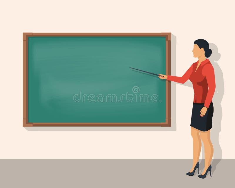 Lärarekvinna som framme står av den tomma skolasvart tavla royaltyfri illustrationer