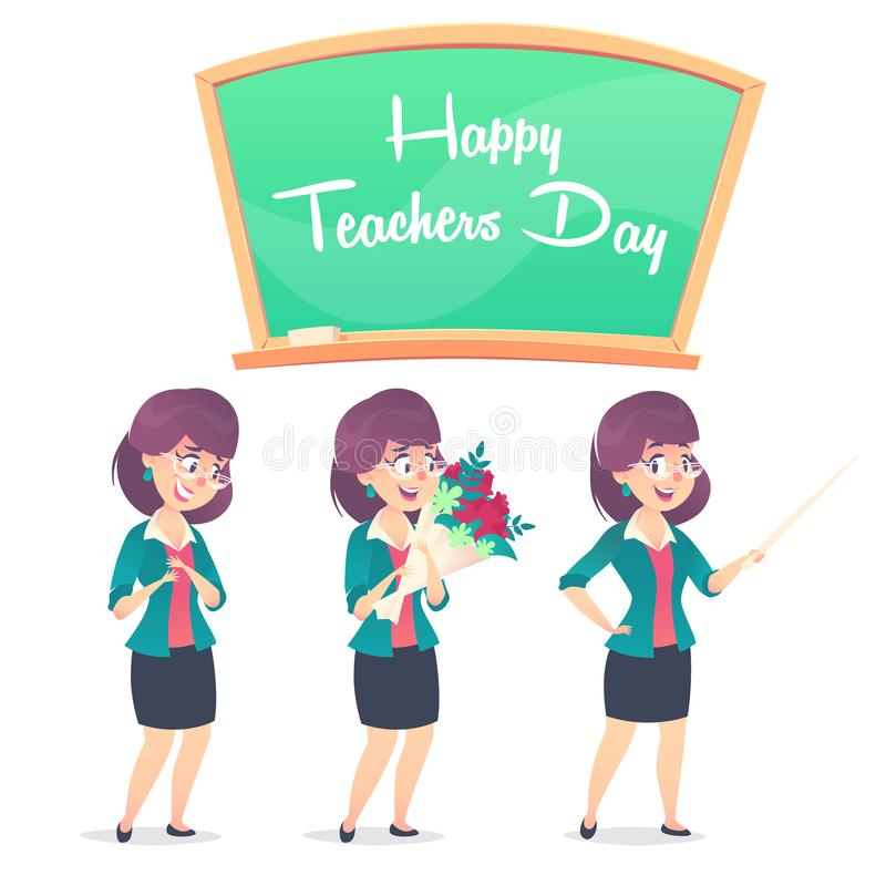 Läraren för skola tre poserar och den svart tavlan Lycklig läraredag royaltyfria bilder