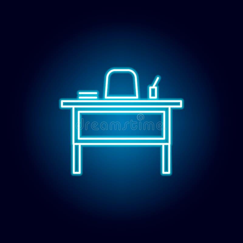 lärareskrivbord, stolöversiktssymbol i neonstil beståndsdelar av utbildningsillustrationlinjen symbol tecknet symboler kan använd stock illustrationer