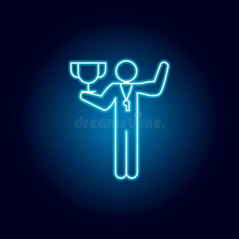 läraresymbol för fysisk utbildning i blå neonstil Pictogram f?r utbildningssymboltecken royaltyfri illustrationer
