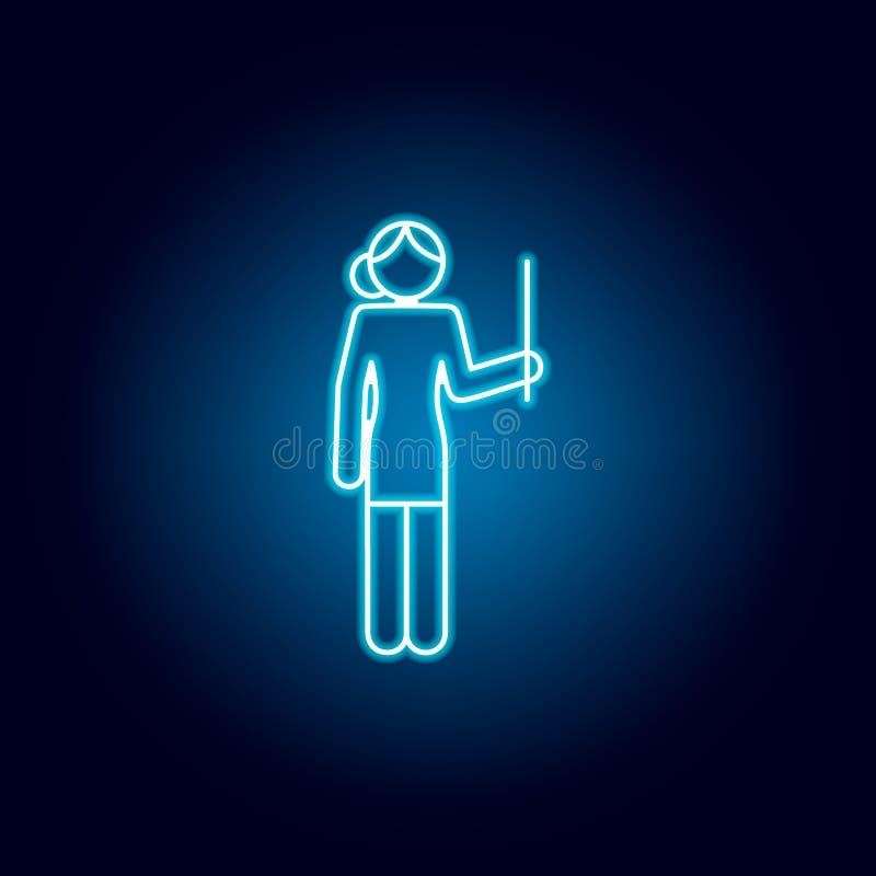 läraresymbol i blå neonstil Pictogram f?r utbildningssymboltecken vektor illustrationer