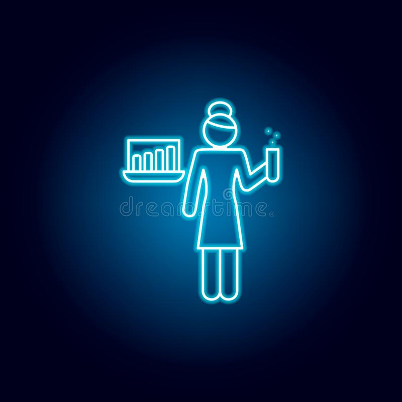 läraresymbol i blå neonstil Pictogram f?r utbildningssymboltecken royaltyfri illustrationer