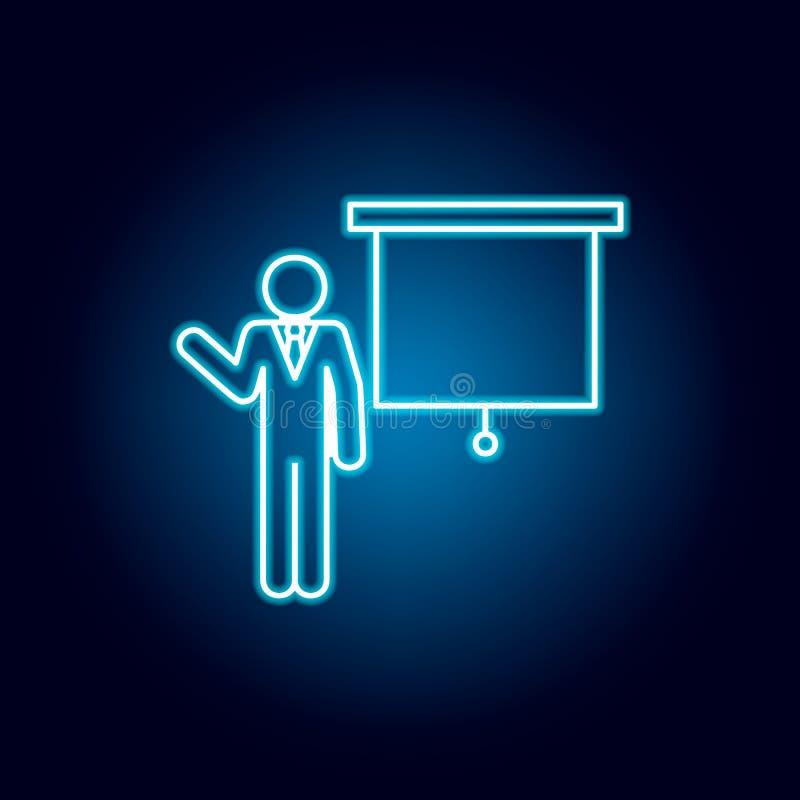 läraresymbol i blå neonstil Pictogram f?r utbildningssymboltecken stock illustrationer