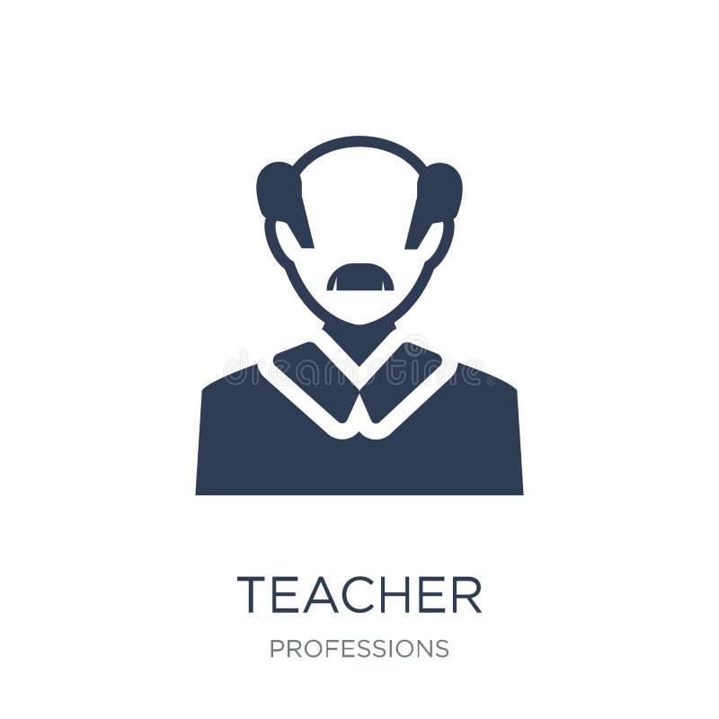 Läraresymbol Moderiktig plan vektorläraresymbol på vit backgroun royaltyfri illustrationer