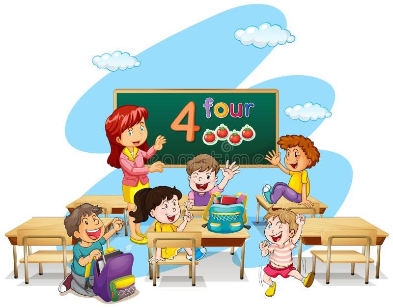 Download LärareTeaching Students In Klassrum Vektor Illustrationer - Illustration av tecken, barndom: 78730403