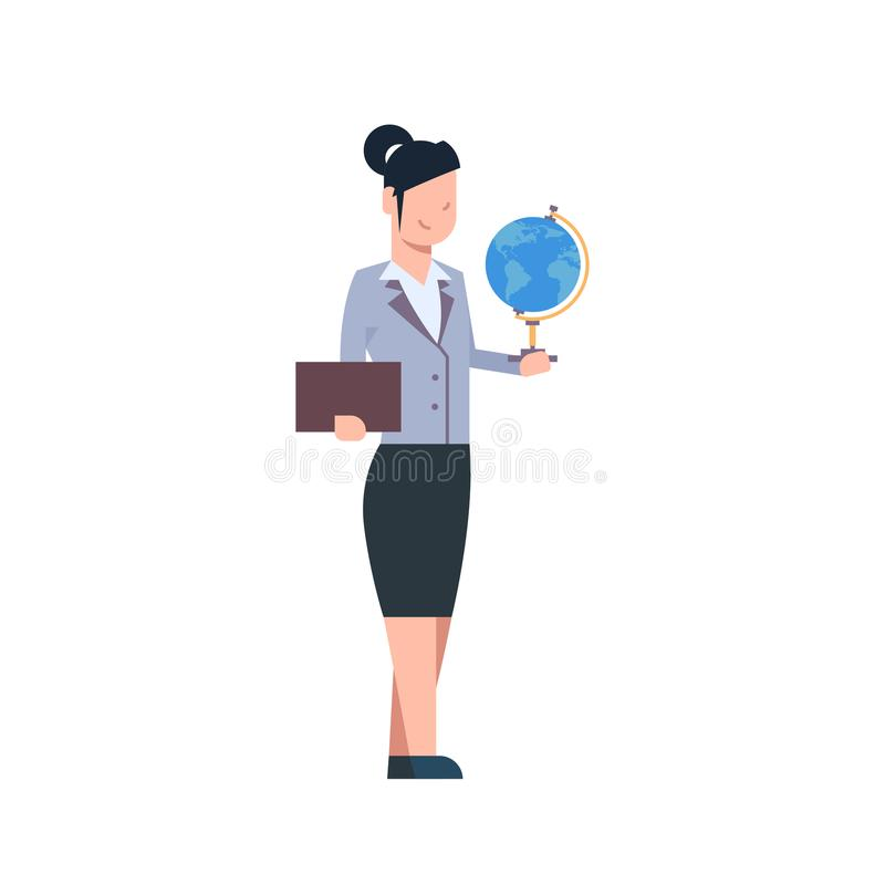 LärarinnaHolding Globe Isolated kvinna över den vita bakgrundsskolaarbetaren stock illustrationer
