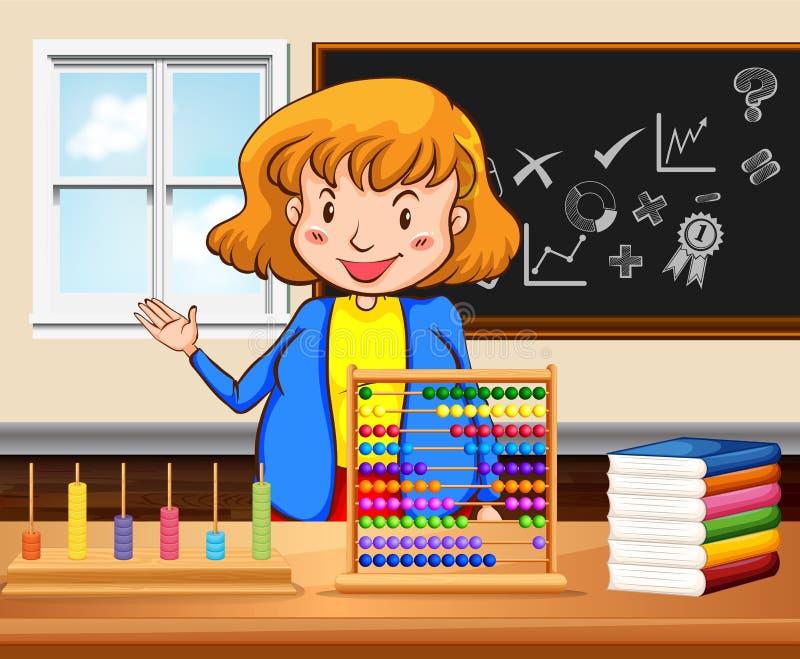 Lärarinnaundervisning i klassrumet vektor illustrationer