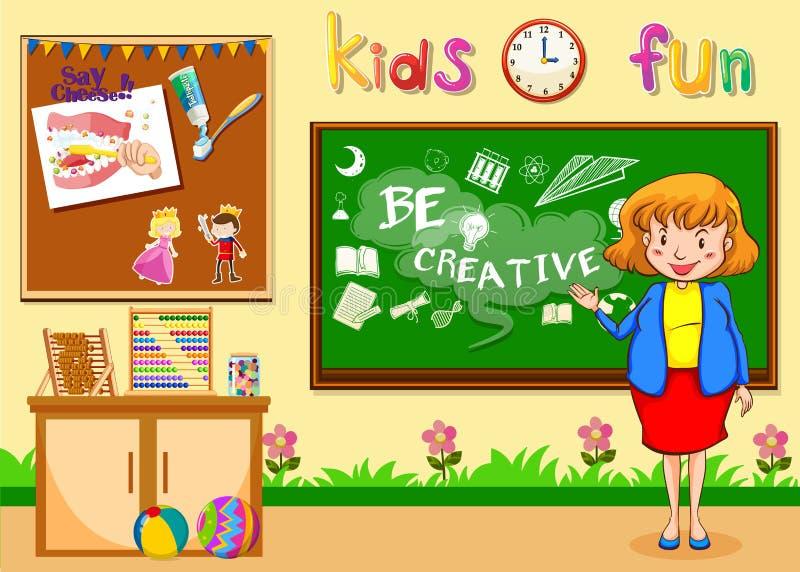 Lärarinnaundervisning i klassrumet stock illustrationer