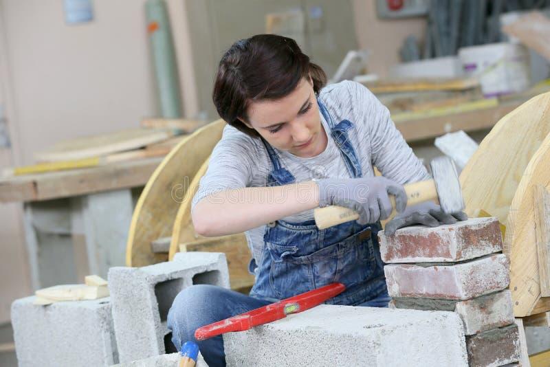 Lärling för ung kvinna i murverk arkivbild