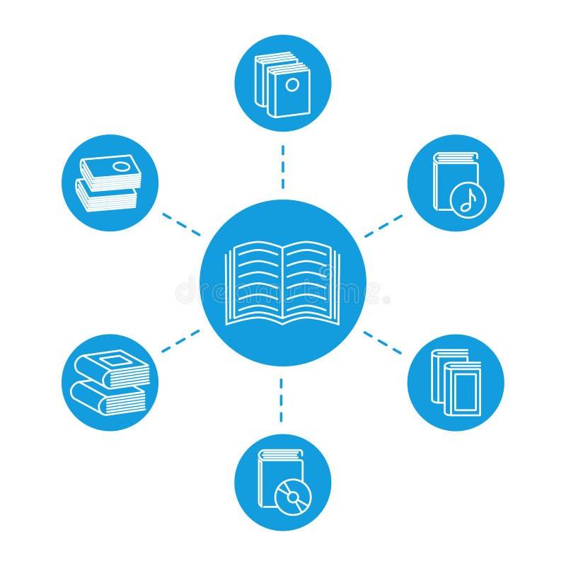 Läs- begrepp - boklinje symboler stock illustrationer