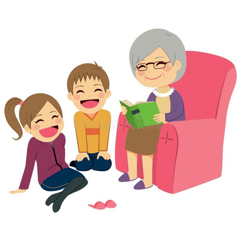 Läs- berättelse för farmor stock illustrationer