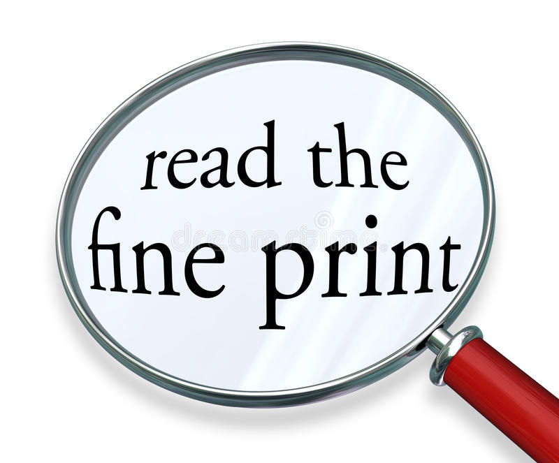 Läs förstoringsglasorden för det fina trycket stock illustrationer
