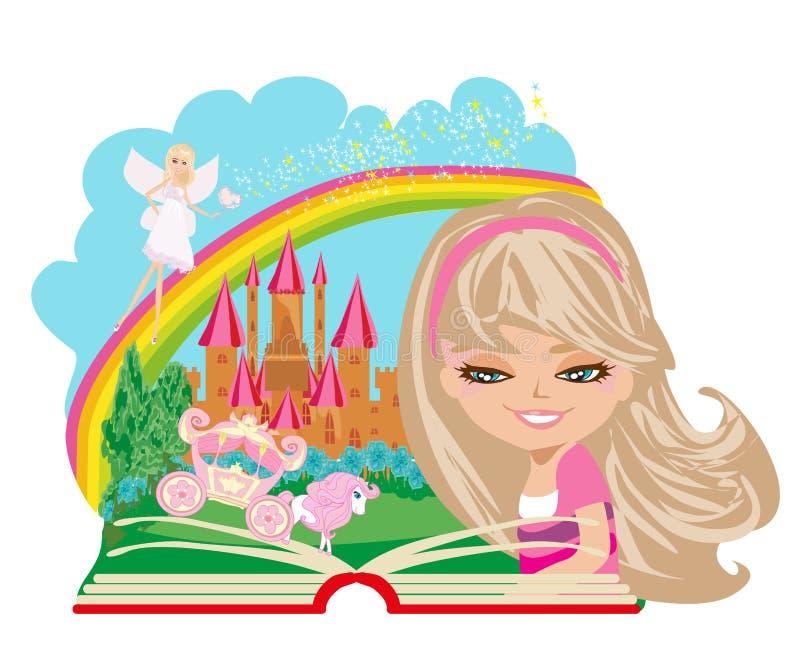 Läs- magisk bok för liten flicka stock illustrationer
