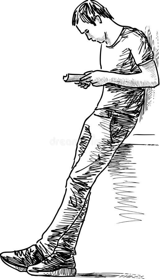 Läs- man stock illustrationer