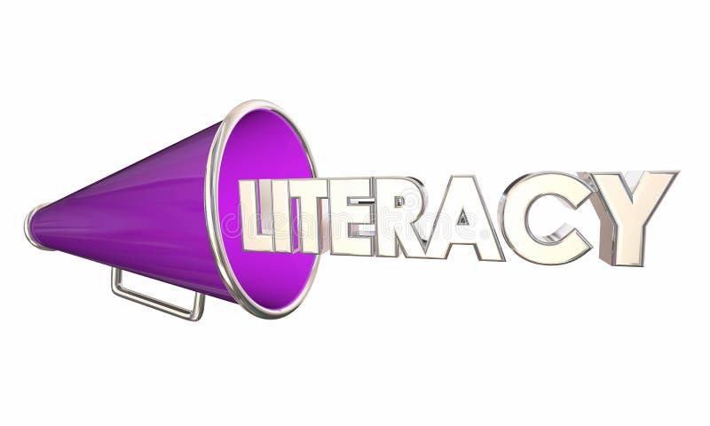 Läs-och skrivkunnighetmegafonmegafonen lär att läsa utbildning 3d Illustrat royaltyfri illustrationer