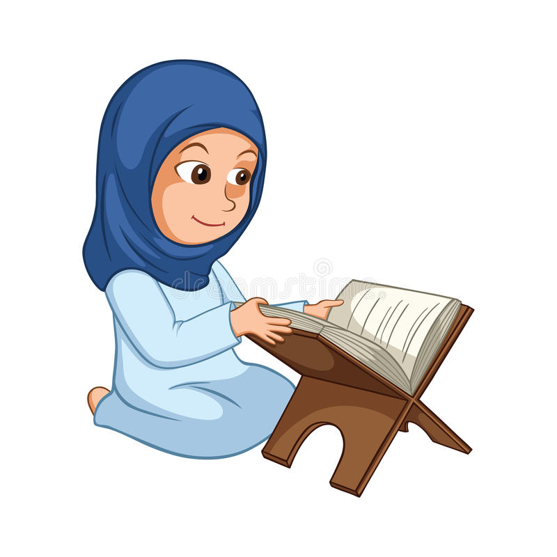 Läs- Quran för flicka den heliga boken av islam stock illustrationer
