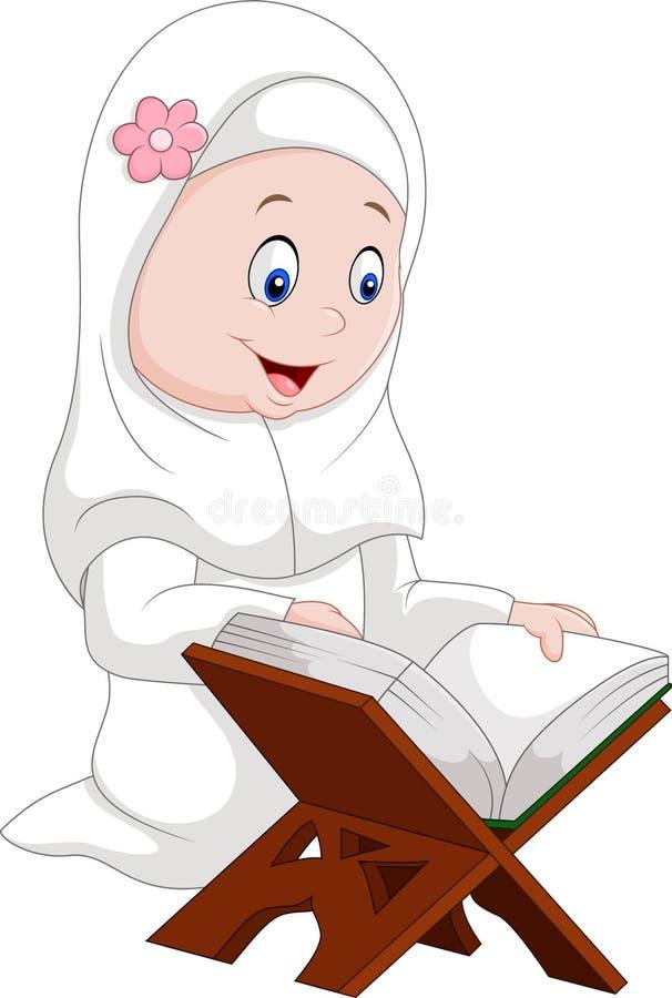 Läs- Quran för tecknad filmflicka vektor illustrationer