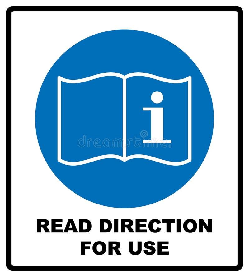 Läs riktningen för brukssymbol Se till tecknet för det manuella häftet för anvisning det obligatoriska, allmänt obligatoriskt han royaltyfri illustrationer
