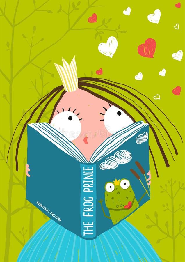 Läs- sagabok för smart gullig liten flicka royaltyfri illustrationer