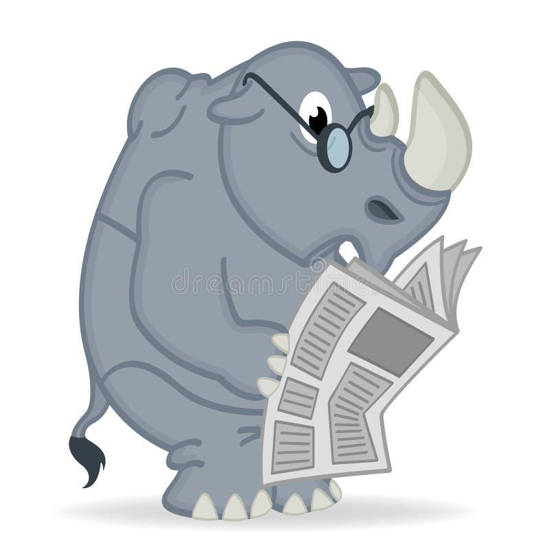 Läs- tidning för noshörning royaltyfri illustrationer
