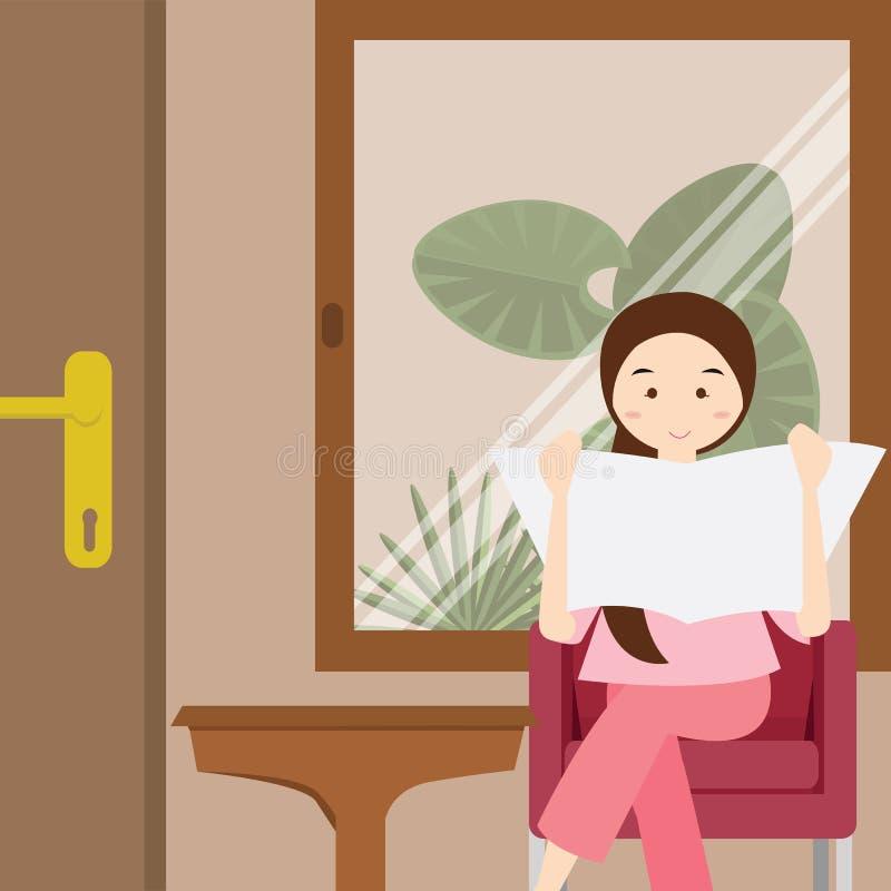 Läs- tidningssammanträde för kvinna på stolillustration royaltyfri illustrationer