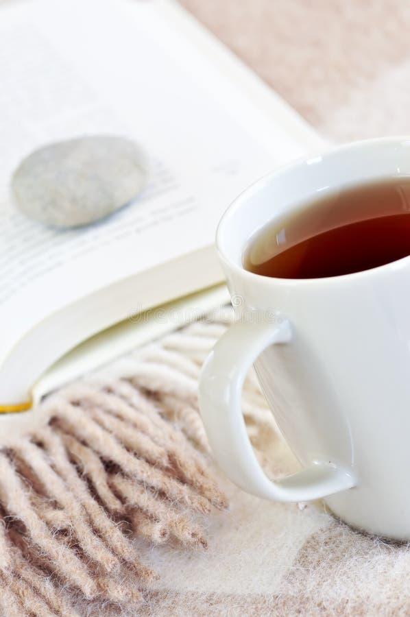 läsa avslappnande tea arkivbilder