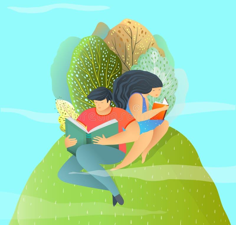 Läsa en bokman och kvinna i sommarskog på kullen royaltyfri illustrationer