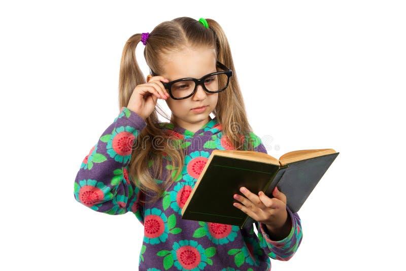 läsa för bokflickaexponeringsglas royaltyfria bilder