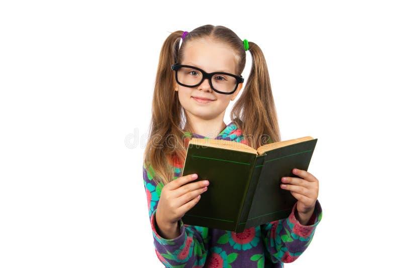 läsa för bokflickaexponeringsglas royaltyfri fotografi