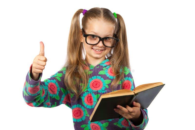 läsa för bokflickaexponeringsglas royaltyfri bild