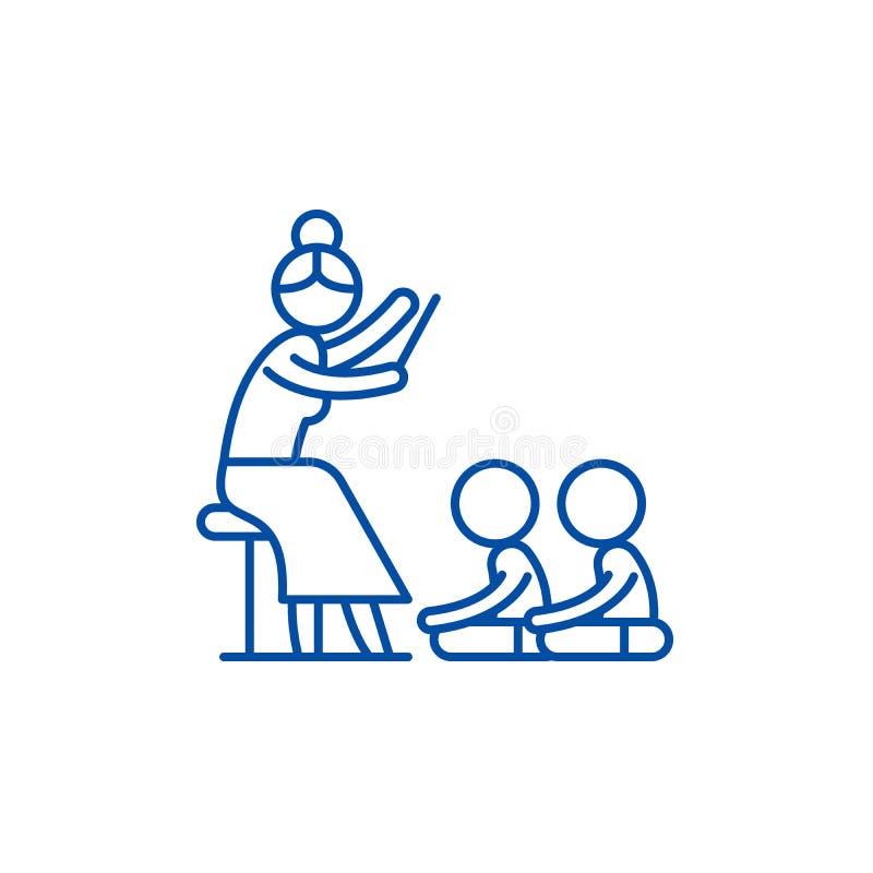 Läsa i dagislinjen symbolsbegrepp Läsa i plant vektorsymbol för dagis, tecken, översiktsillustration stock illustrationer