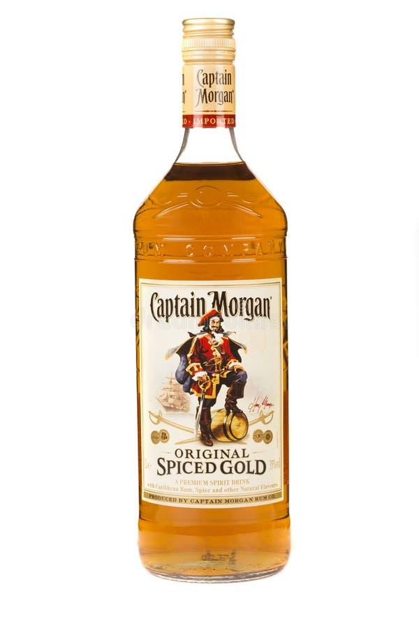 LÄSA MOLDAVIEN APRIL 7, 2016 Kapten Morgan är ett märke av rom som produceras av alkoholkonglomeratet Diageo Kapten Morgan är vid royaltyfri foto