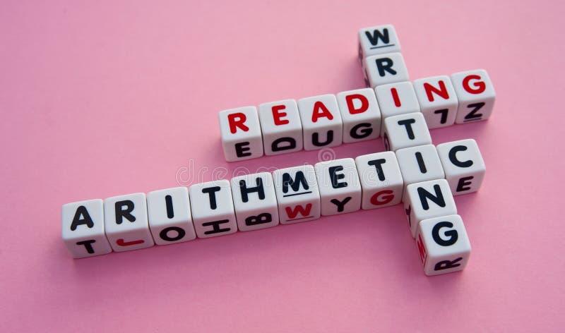 Läsa och att skriva och aritmetisk arkivbild