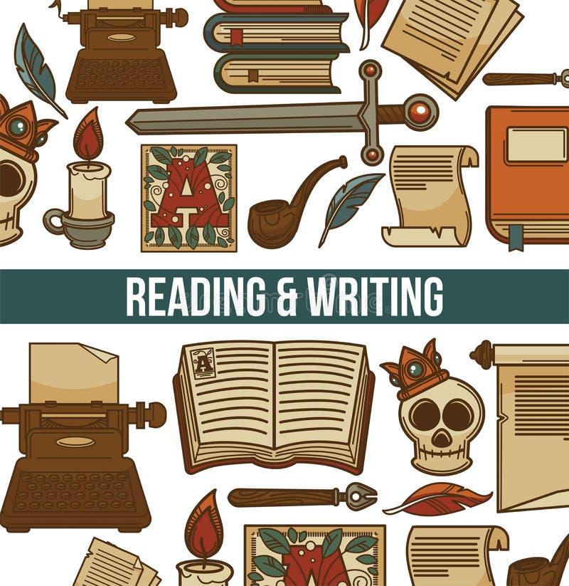 Läsa och skriva affischen med bokvektorillustrationen royaltyfri illustrationer