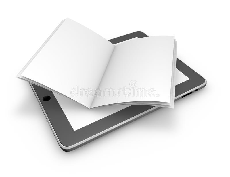 Läsa på linje, gör sammandrag öppnar elektroniska publikationer begrepp med minnestavlan och boken royaltyfri illustrationer