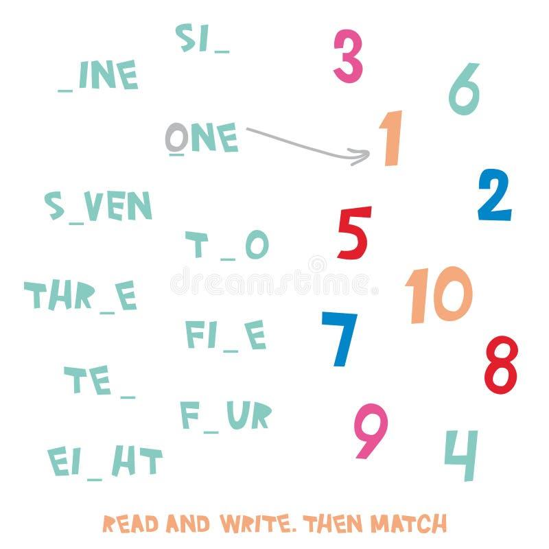 läsa/skriva kultur Därefter match Ungeord för diagram som 1 till 10 lär leken, arbetssedlar med enkla färgrika diagram och, fylle stock illustrationer