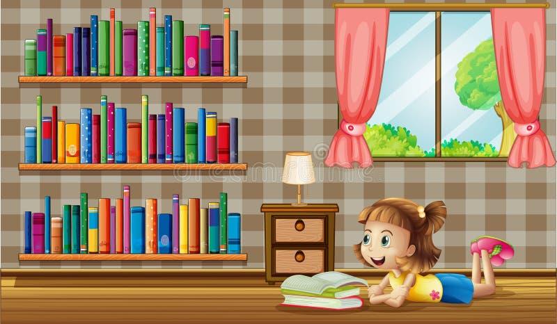 Läseböcker för en flicka nära fönstret stock illustrationer