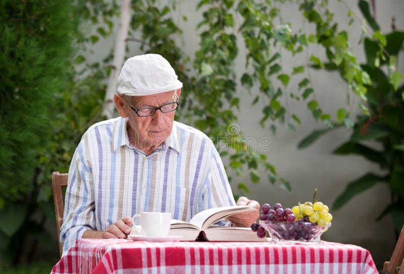 Läsebok för hög man i trädgård royaltyfria foton