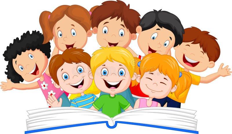 Läsebok för liten unge för tecknad film royaltyfri illustrationer