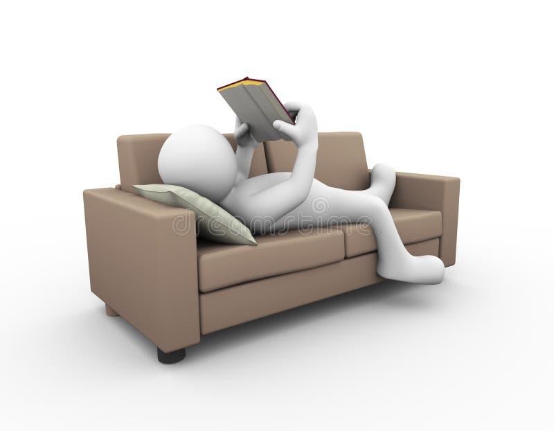läsebok för man 3d på soffan stock illustrationer