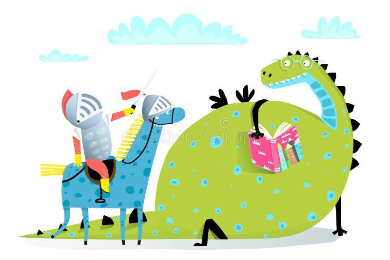 Läsebokdrake och riddare på hästattack vektor illustrationer