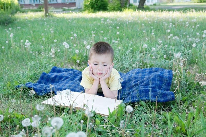 Läseboken för skolapojken som ligger på magen som är utomhus- bland maskrosen parkerar in och att le det gulliga barnet, barn utb royaltyfria bilder