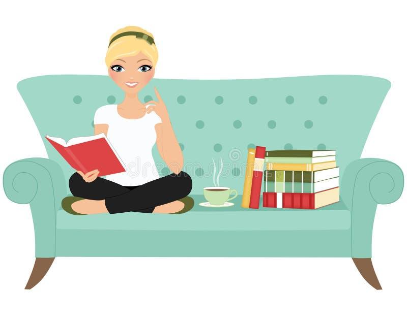 Läsebokkvinna stock illustrationer
