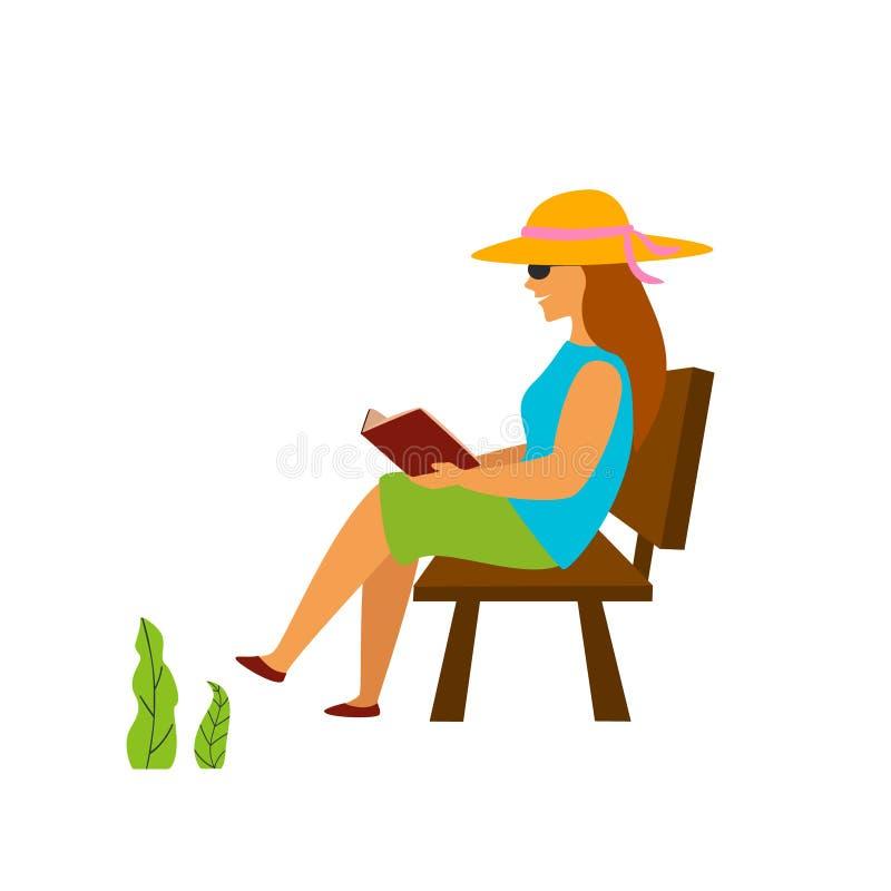 Läseboksammanträde för ung kvinna på en bänk i en parkera stock illustrationer