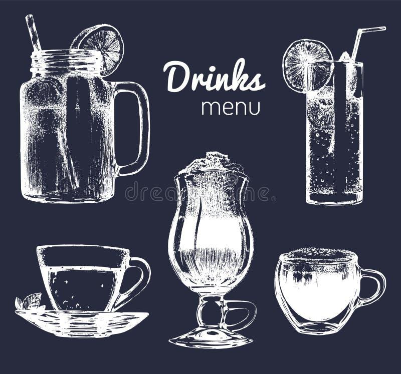 Läsk och exponeringsglas för stången, restaurang, kafémeny Handen drog dryckvektorillustrationer ställde in, lemonad, kaffe, te stock illustrationer
