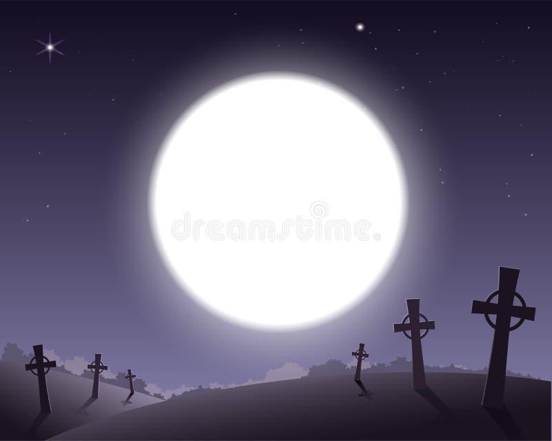 Läskig bakgrund för allhelgonaaftonkyrkogård med kors och fullmåne i himmel vektor illustrationer