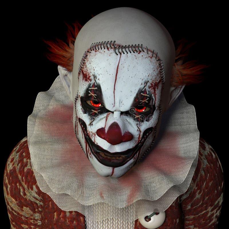 Läskig clown 1 stock illustrationer