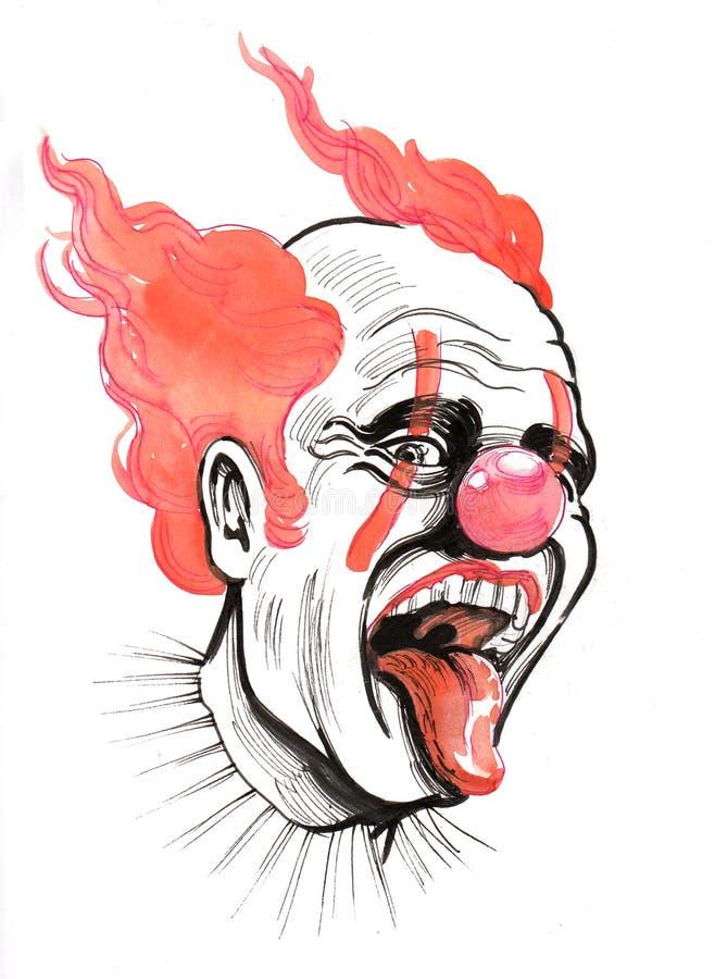 läskig clown stock illustrationer