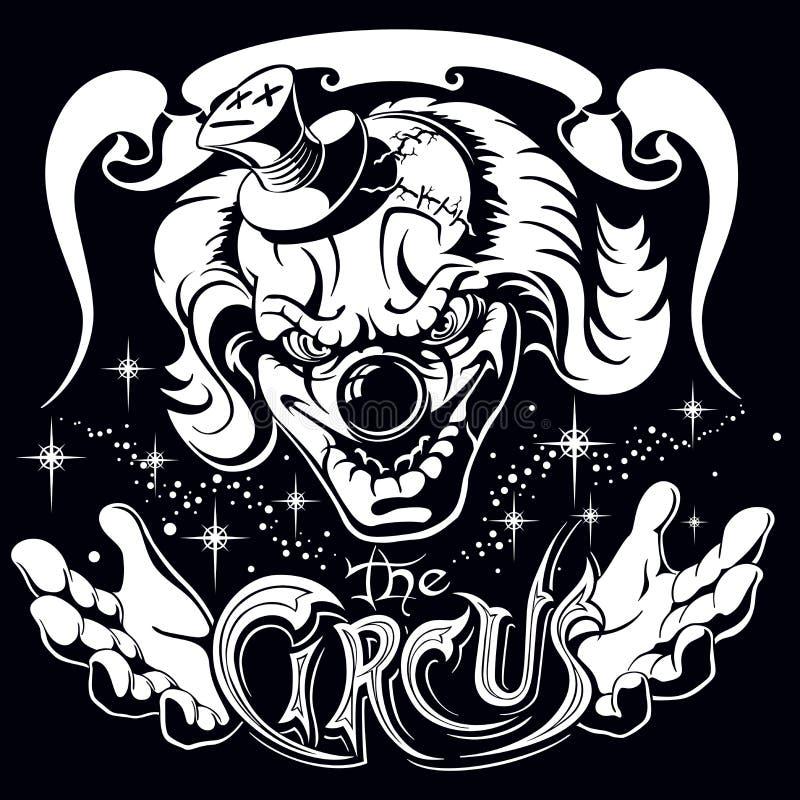 Läskig clown, huvud av teckenet, ett monster från en rysare stock illustrationer
